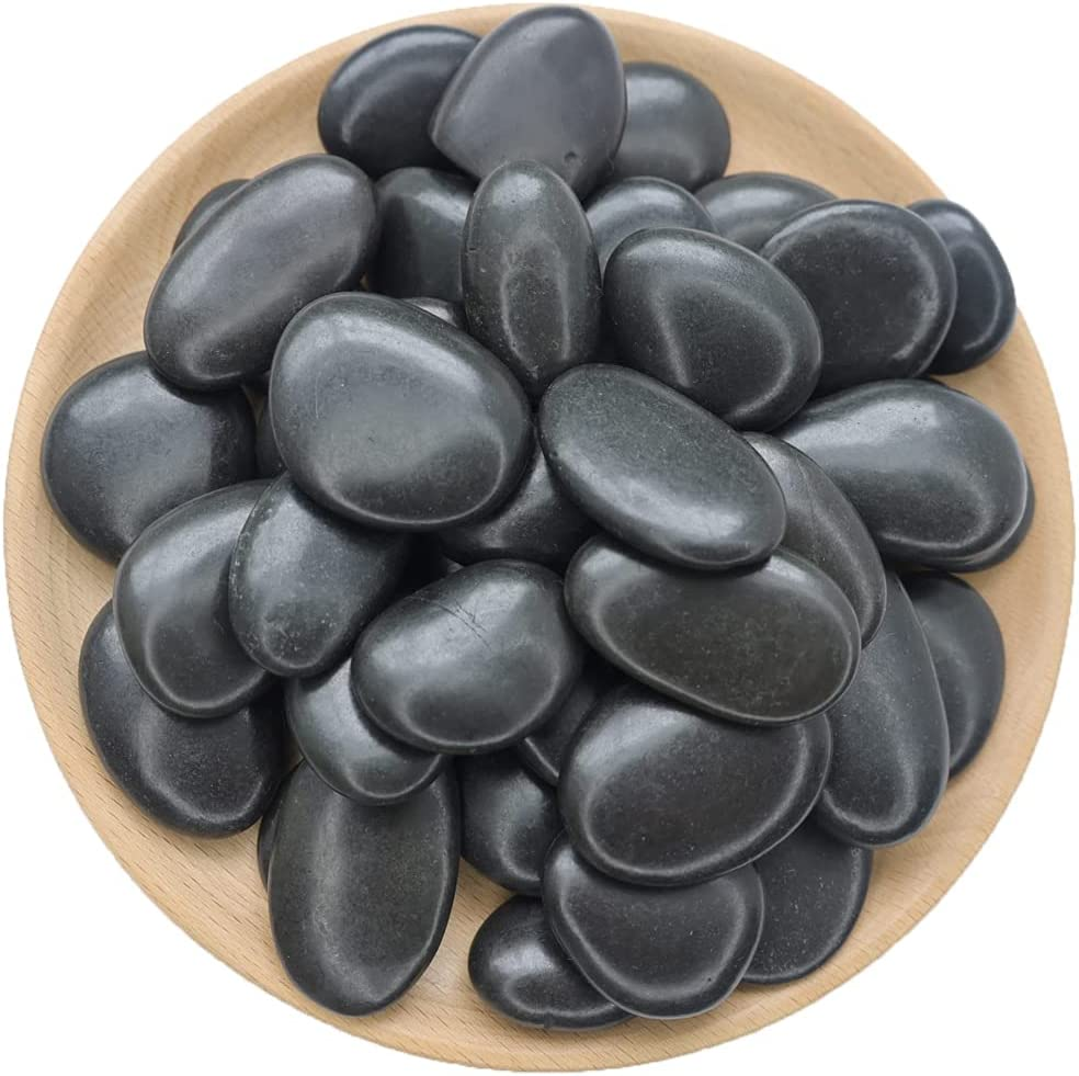 NINGYE Black Pebbles Rocks 1-2inch Rainforest Decorative River Polished Stones Hearth Ntural for Outdoor Garden 2.2lbs