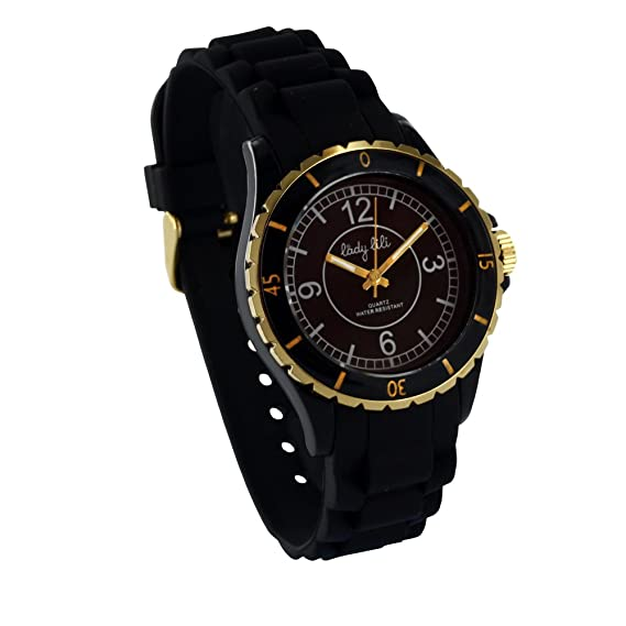Lady Lili – Reloj Mujer Cubierta plástico negro correa silicona negro