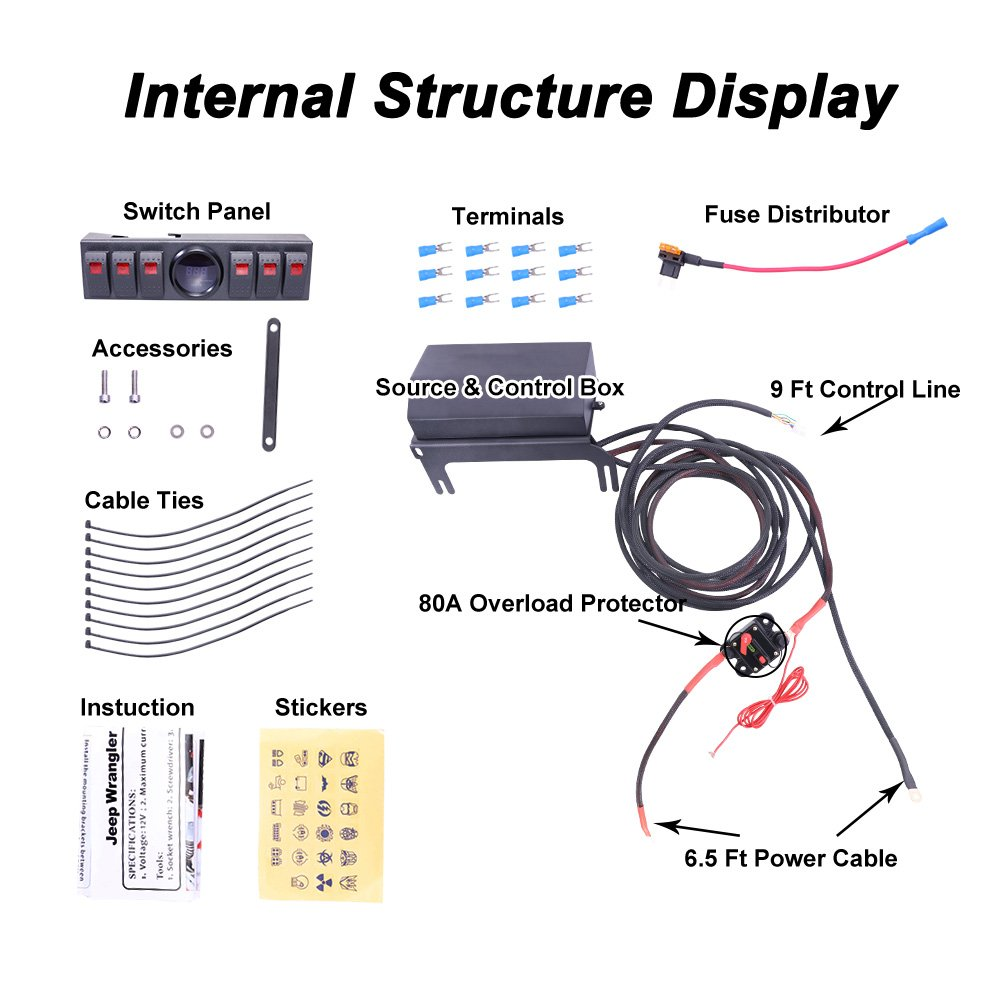 Liteway Overhead 6 Rocker Switch Pod Panel Wiring Kit Way Toggle Diagram With Control And Source System Relay Box Assemblies Digital Voltmeter For Jeep