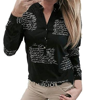 c45fec41d92 KESEELY Women V Neck Letters Printing Button Long Sleeve White Turndown Collar  T-Shirt Tops