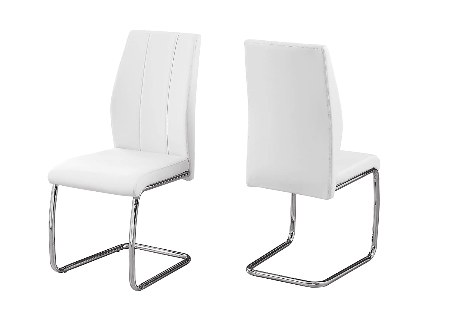 Monarch Specialties I 1075 2 Piece Dining CHAIR-2PCS 39 Leather-Look Chrome, 17.25 L x 20.25 D x 38.75 H White