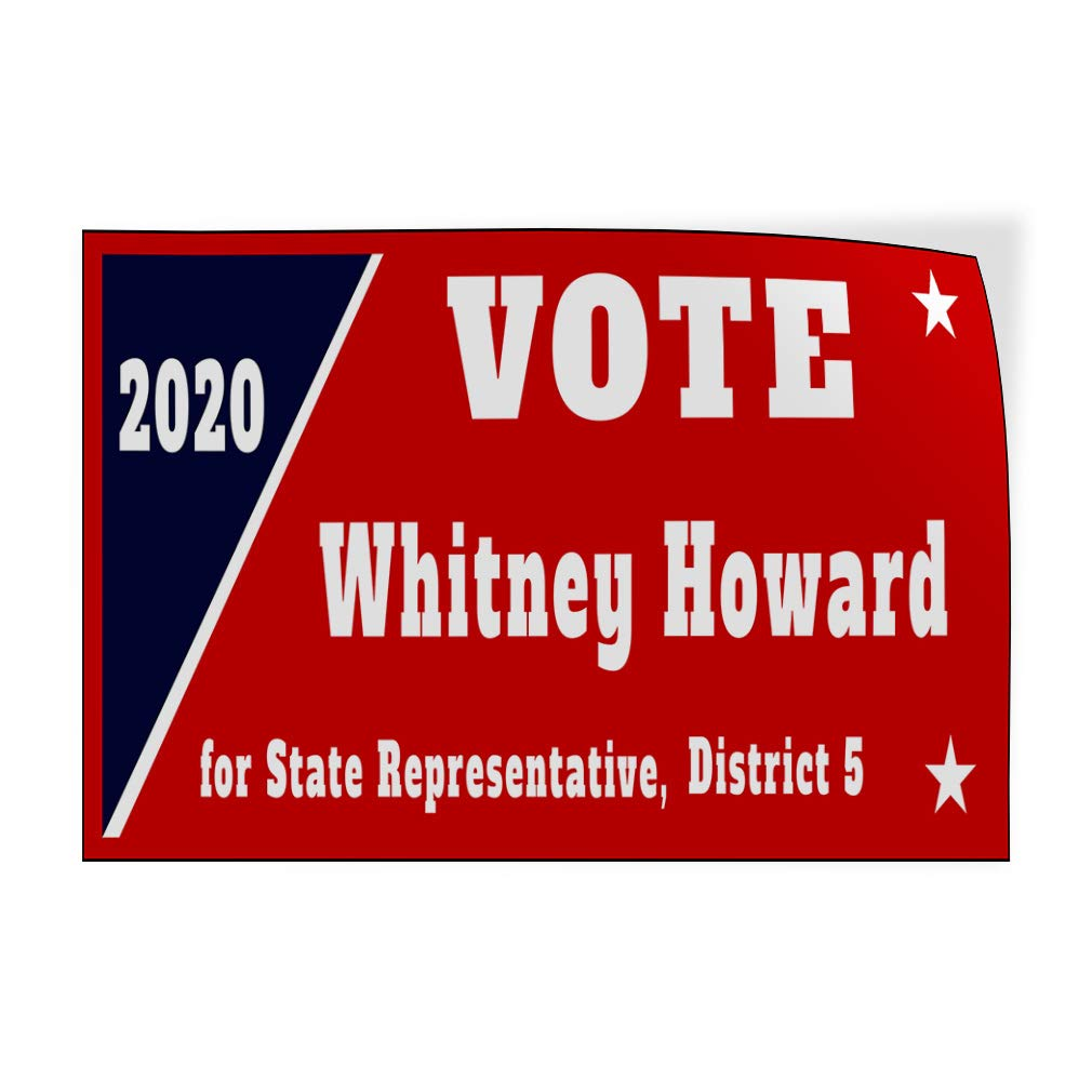 Custom Door Decals Vinyl Stickers Multiple Sizes Year Vote Name for State Representative Political Vote Signs Outdoor Luggage /& Bumper Stickers for Cars White 34X22Inches Set of 10