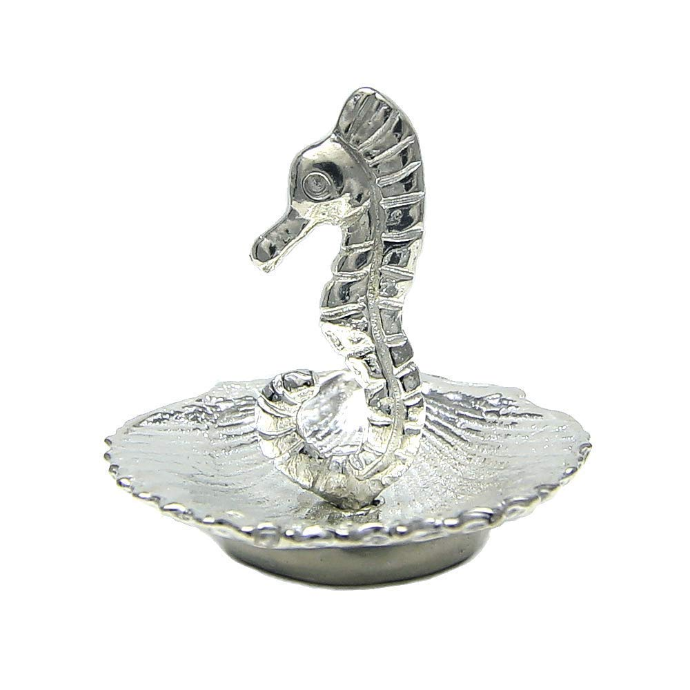 Seahorse Ring Holder - Tiny Ring Stand Gift Boxed, story card -Handcrafted Pewter Made in USA