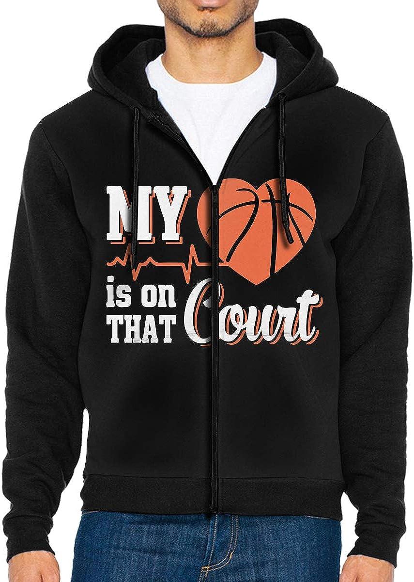 My Heart is On That Basketball Court Mens Zipper Hooded Fleece Jacket