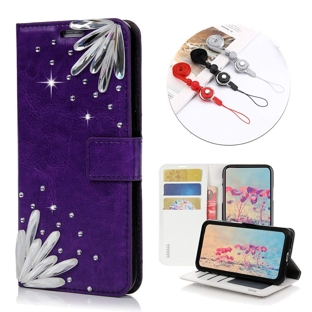 STENES Bling Wallet Phone Case Compatible with LG Tribute HD/LG X Style - Stylish - 3D Handmade Pretty Stones Design Leather Cover with Neck Strap Lanyard [3 Pack] - Purple