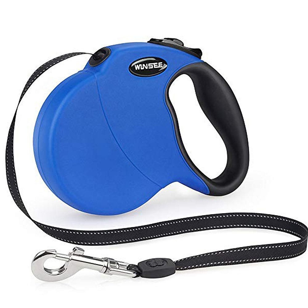 WINSEE Retractable Dog Leash 16ft Dog Walking Leash for Small Medium Large Dogs up to 110lbs, Tangle Free Leash, Reflective Leash Cord, One-Handed Brake, Pause, Lock