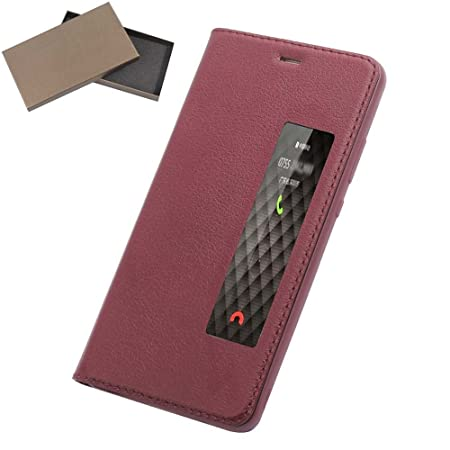 on sale bb345 cf665 Huawei P10 Plus Case, Premium cowhide Window View Automatic Sleep ...