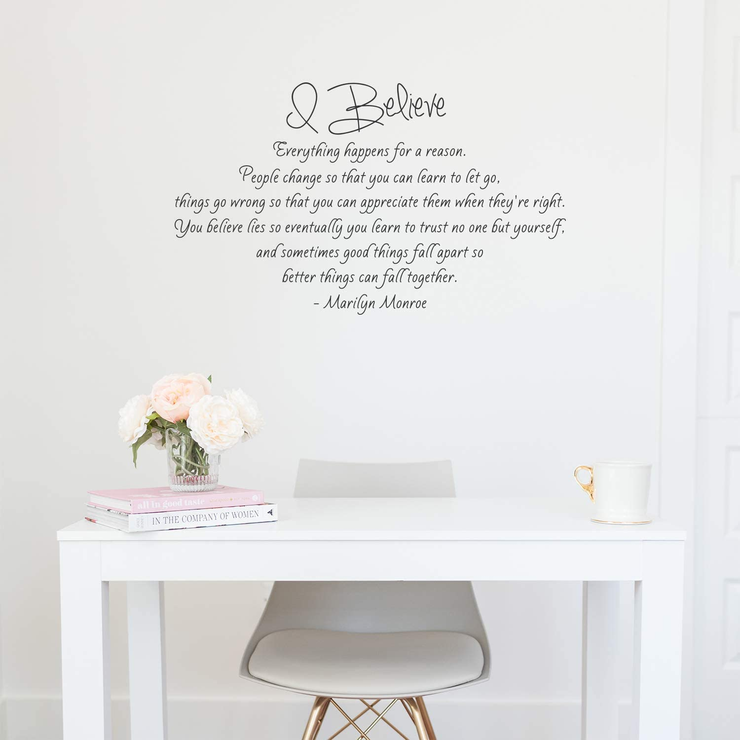 """Vinyl Wall Art Decal - I Believe - Marilyn Monroe - 21"""" x 36"""" - Modern Inspirational Cute Quote Sticker for Bedroom Closet Living Room Office Decor"""