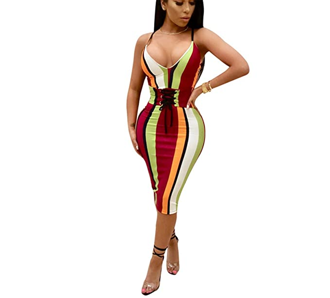 Frozac Más Tamaño colorido Spaghetti Correa Verano Vestidos Sexy Cuello Profundo V Grommet Lace up Bodycon Midi Club Party Color 3 China at Amazon Womens ...