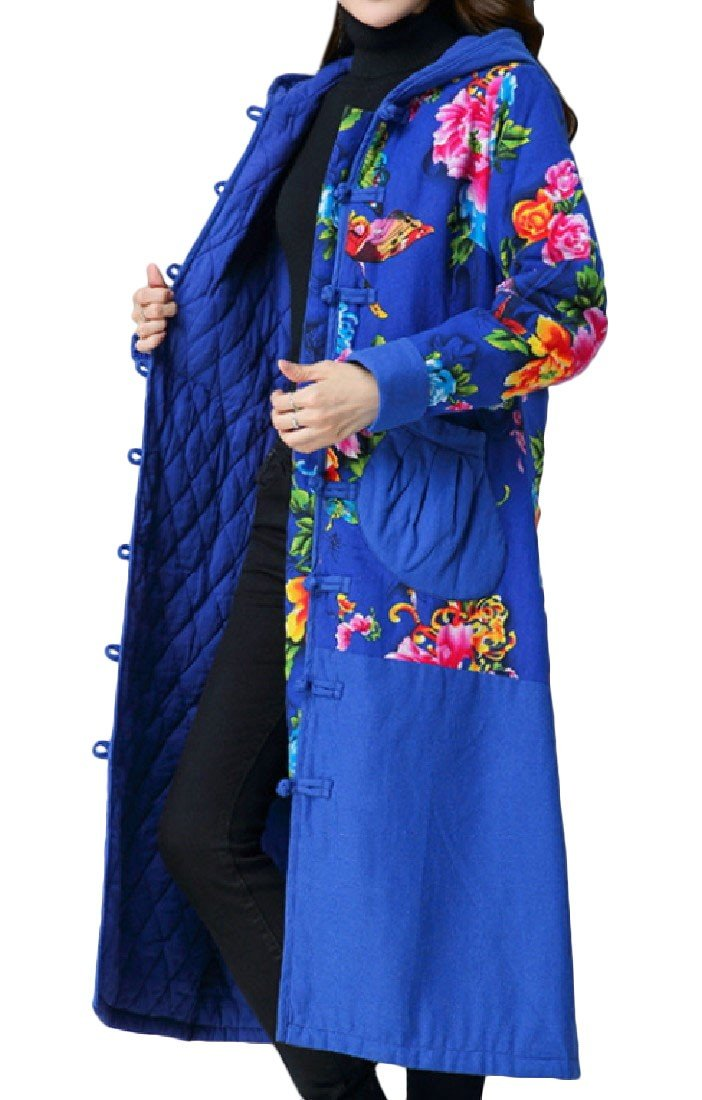 Abetteric Women Winter Hood Cotton Padded Chinese Style Outwear Tops Blue L