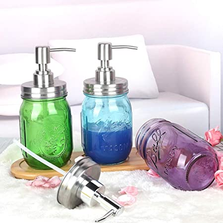 Lwl 450ml Mason Jar Botella de Cristal Creativo Jabón dispensador ...
