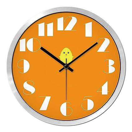 DXNSPF Reloj Pared Encantador Silencio Creatividad Cuarto Los Niños Pato Amarillo Dibujos Animados Cuarto Jardín Infancia