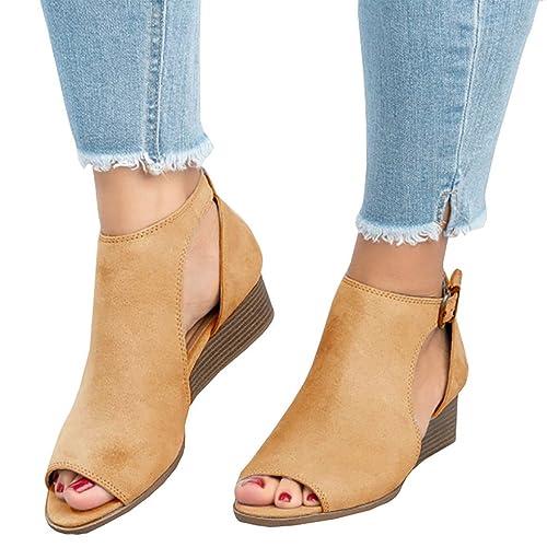 Minetom Mujer Verano Sandalias Elegante Hebilla Zapatillas De Tobillo Tacón  Bloque Confort Peep Toe Tacón Alto b7801f51d5f1