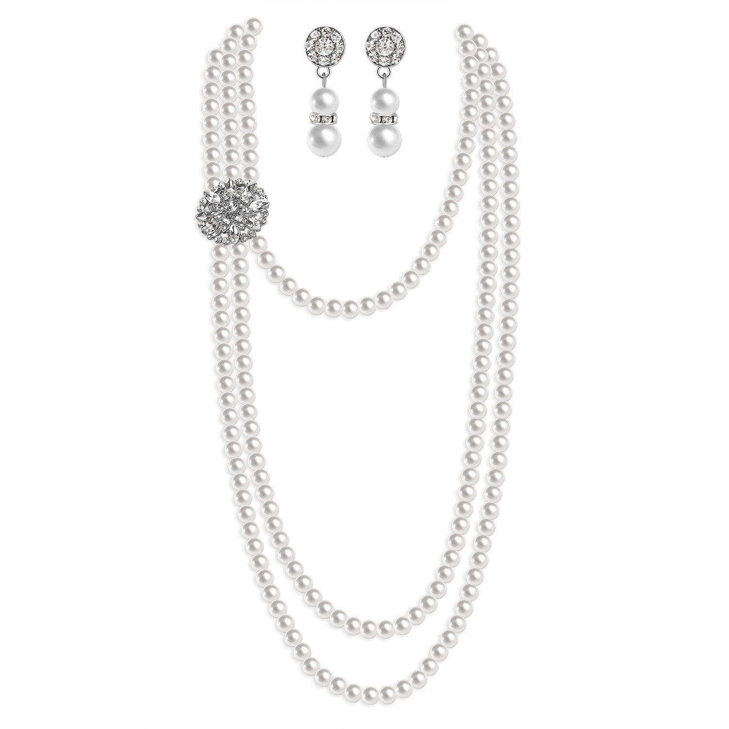 Zivyes 1920s Gatsby Multilayer Imitation Pearl Choker Necklace Earrings Jewelry Set Flapper Accessories (A-White)
