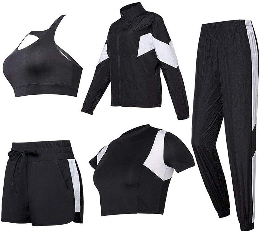 schwarz M HFWJHH Frühling und Sommer Yoga-Kleidung Sportanzug, Damenhosen Laufbekleidung, schlanke und schnell trocknende Kleidung Kurzarm-BH Fitness-Kleidung 5 Sätze