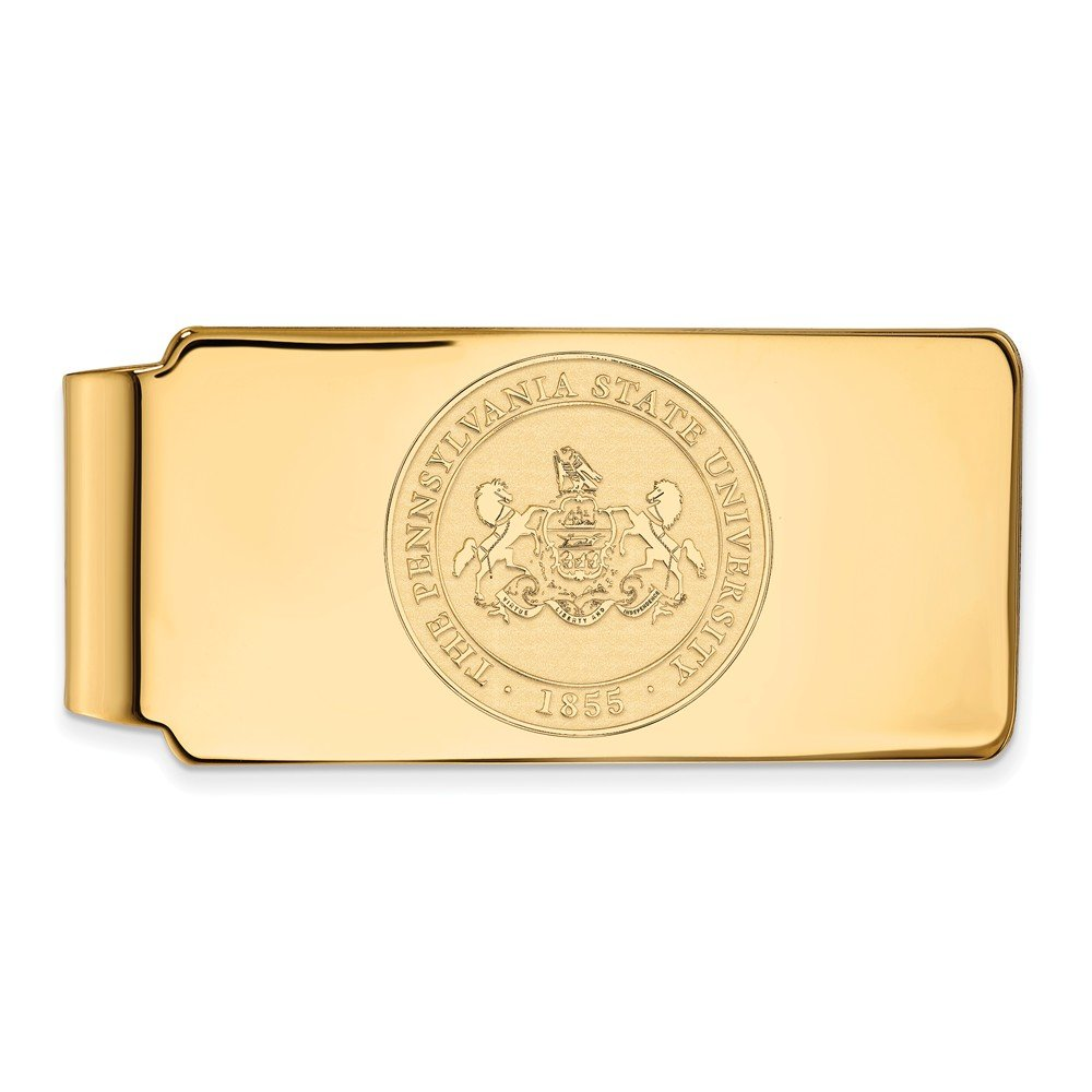 PSU Sterling Silver w// 14K Yellow Gold-Plated LogoArt Official Licensed Collegiate Penn State University Money Clip Crest