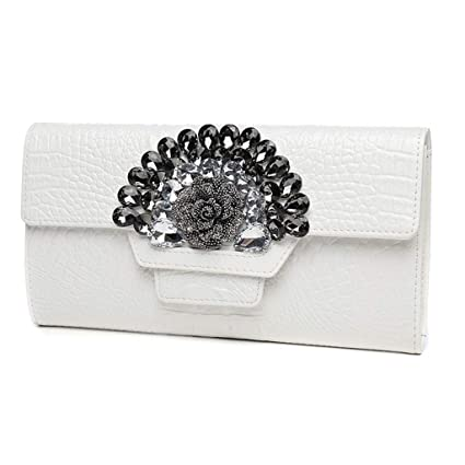LZY Embrague- Bolso de Mano de Cuero de Gran Capacidad Diamond Lady Clutch Fashion Joker