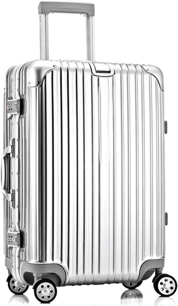 HUANGA Carretilla de Equipaje, Caja de Cuero con contraseña de Marco de Aluminio de 24 Pulgadas, Maleta anticolisión de Gran Capacidad - retráctil (Color : Silver, tamaño : 20 Inches)