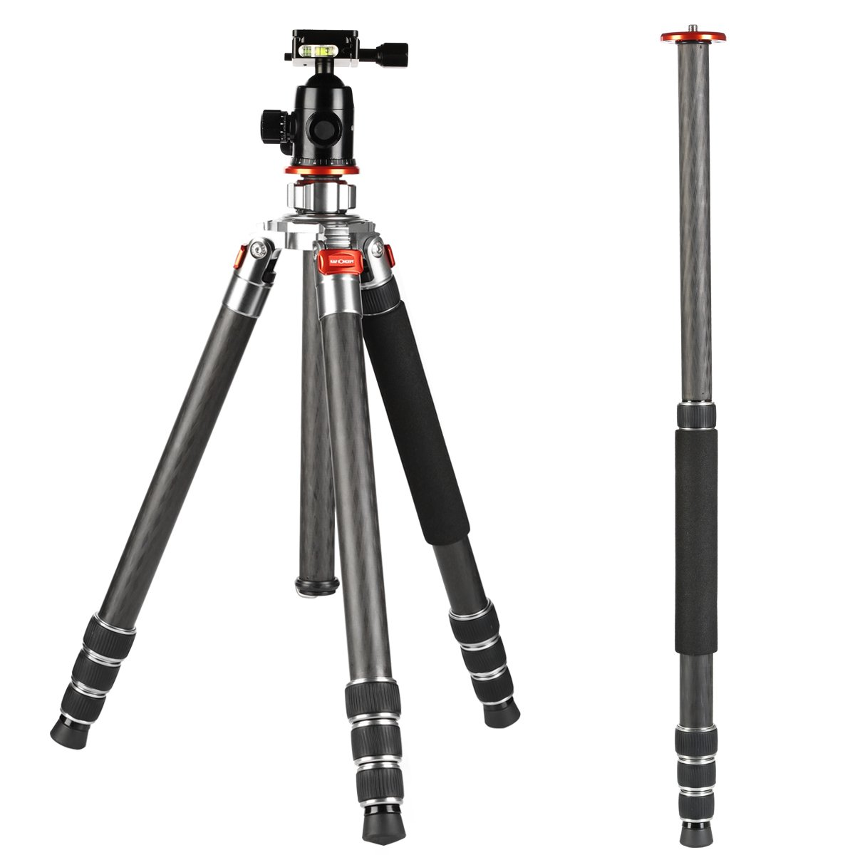 K&f Concept Carbon Fiber Camera Tripod 4 Section 61 Inch with Load Capacity 26.46lbs Monopod for Camera DSLR DV Canon Nikon Sony
