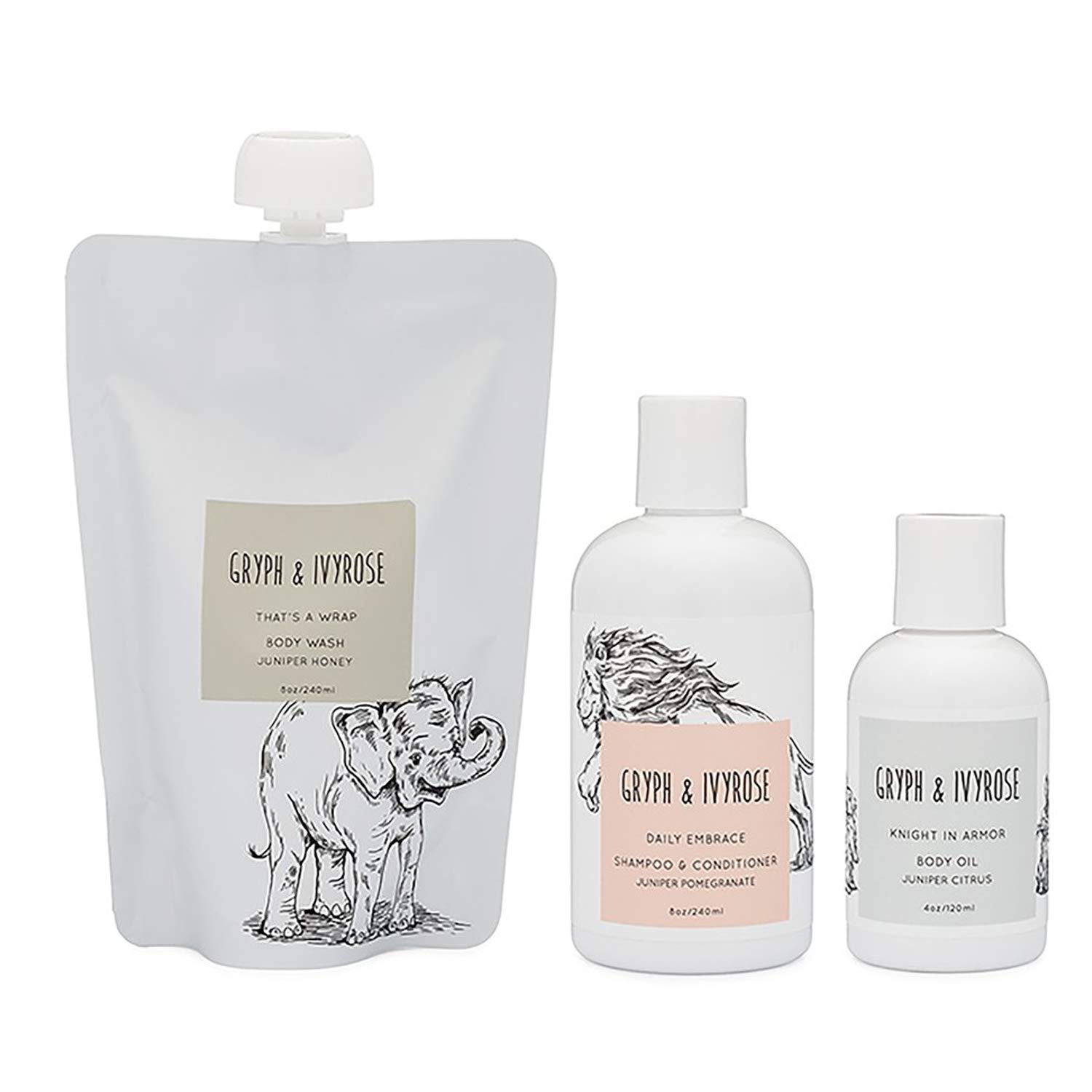 Gryph & IvyRose Newborn Essentails, newborn baby gift set filled with bath essentials including body wash, skin care kit by Gryph & IvyRose