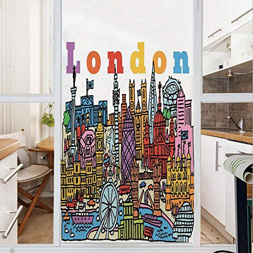 Decorative Window Film,No Glue Frosted Privacy Film,Stained Glass Door Film,Multicolor Cartoon Style Vector Illustration of Cityscape With Several Landmarks,for Home & Office,23.6In. by 59In Multicolo