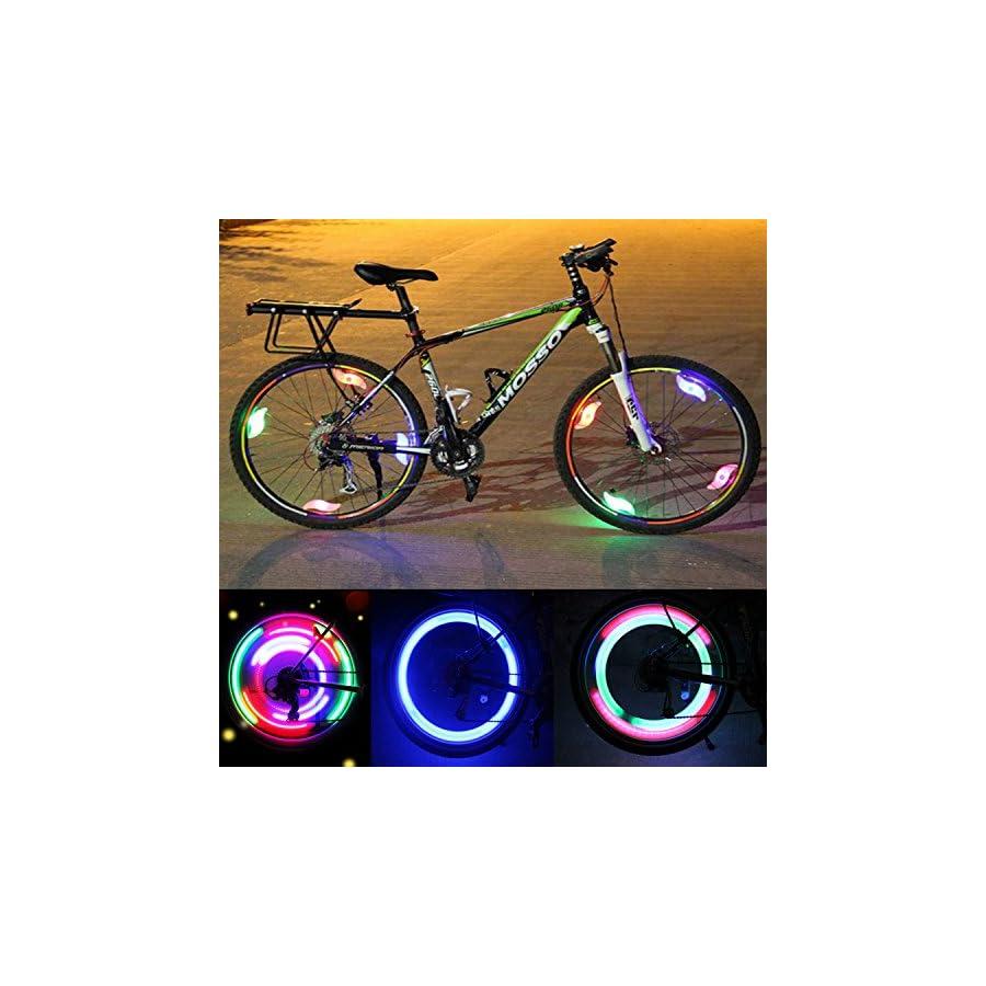 Bike Spoke Light LED Bicycle Wheel Lights with 3 Flash Modes Waterproof Spokelit Bicycle Lights Lamp Bulb Cycling MTB Tire Wheel Rim Light Keep Safe and Fun for Kids Night Riding, 6 Pcs