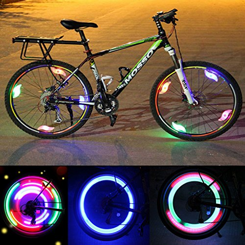 Bike Spoke Light LED Bicycle Wheel Lights with 3 Flash Modes Waterproof Spokelit Bicycle Lights Lamp Bulb Cycling MTB Tire Wheel Rim Light Keep Safe and Fun for Kids Night Riding, 6 Pcs