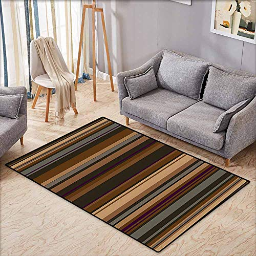 Anti-Static Rug Abstract Decor Retro Vertical Striped Background in Different Shades of Earthen Tones Image Tan Brown Country Home Decor W6'5 xL4'6