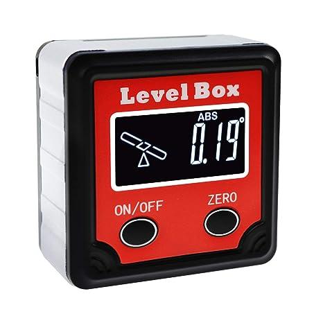 Digital Level Box Protractor Angle Finder Bevel Gauge Magnetic Base with  Tilt Direction Indicator, 360° (4 x 90°) Inclinometer Cube Meter