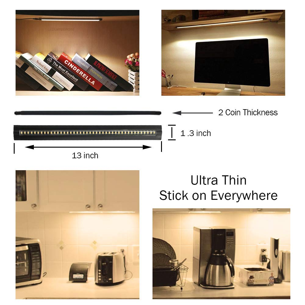 Ultra Thin LED Under Cabinet/Counter Kitchen Lighting Plug-In, Touch Dimmable 2 Coin Thickness LED Light with 42 LEDs, Easy Installation Warm White 12V/2A 5W/450LM CRI90, 3 Pack, All in One Kit by LEDLightsWorld (Image #2)