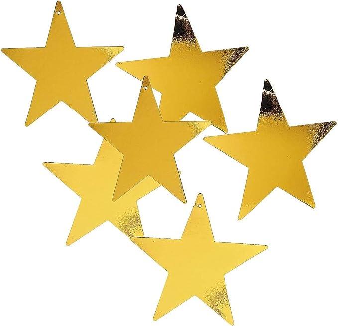 "prettypartyplace Gold Star 12"" Cutout - 1 Dozen Gold Foil Cardboard Star  Cutouts : Amazon.co.uk: Home & Kitchen"