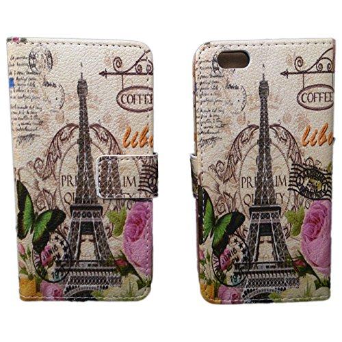 handy-point Wallet Flip Case Tasche Buchhülle Hülle Schutzhülle Flip Case Brieftasche mit Aufstellfunktion für iPhone SE / 5 / 5S France Paris - Stadt der Liebe - Der Eiffelturm Muster Etui mit Fach f