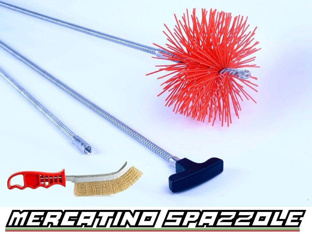 Kit Spazzacamino Flessibile 3 Metri Scovolo 180mm Nylon - Pulizia Canne Fumarie Baretto Spazzole