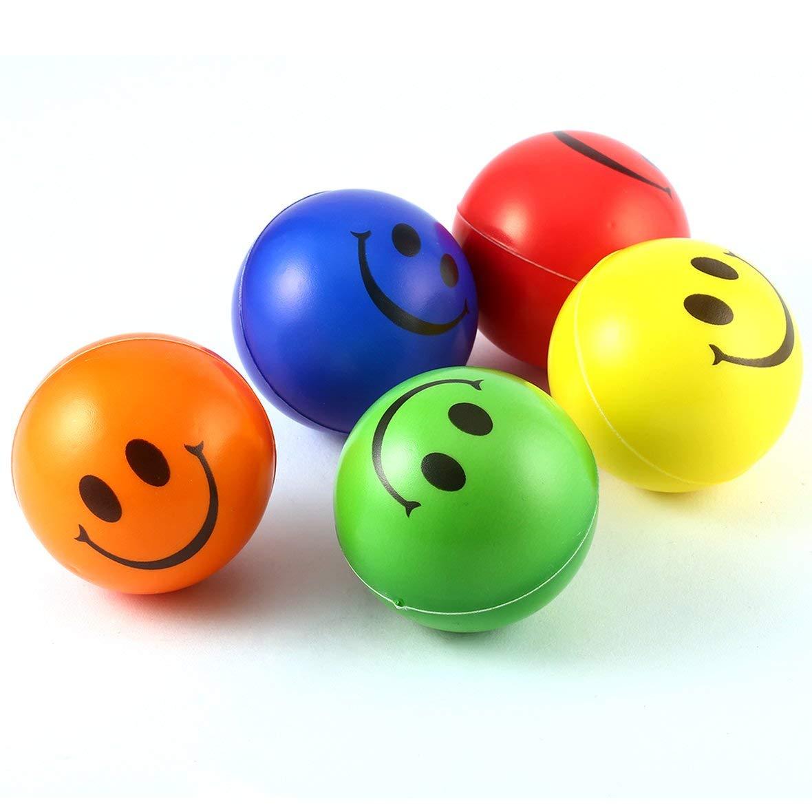 Heaviesk 12 UNIDS Sonrisa Cara Estr/és Alivio Esponja Bolas de Espuma Fuerza de la Mano Apret/ón de Bola Ni/ños Adultos Mano Ejercicio Pelotas de Juguete Color al Azar