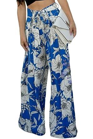 1708a1a04ff56 Cfanny Women s Fashion Floral Leaf Print Plus Size High Waist Palazzo Pants  Blue XXL