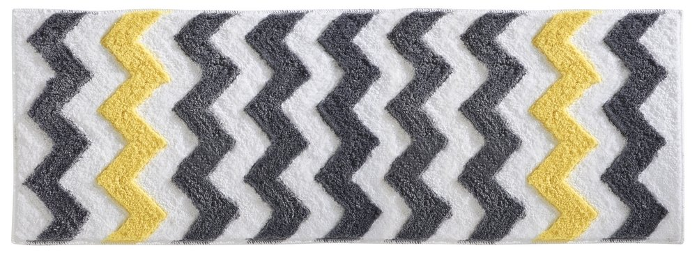 mDesign Soft Microfiber Polyester Non-Slip Extra-Long Spa Mat/Runner, Plush Water Absorbent, Chevron Pattern - for Bathroom Vanity, Bathtub/Shower, Machine Washable - 60'' x 21'' - Gray/Yellow