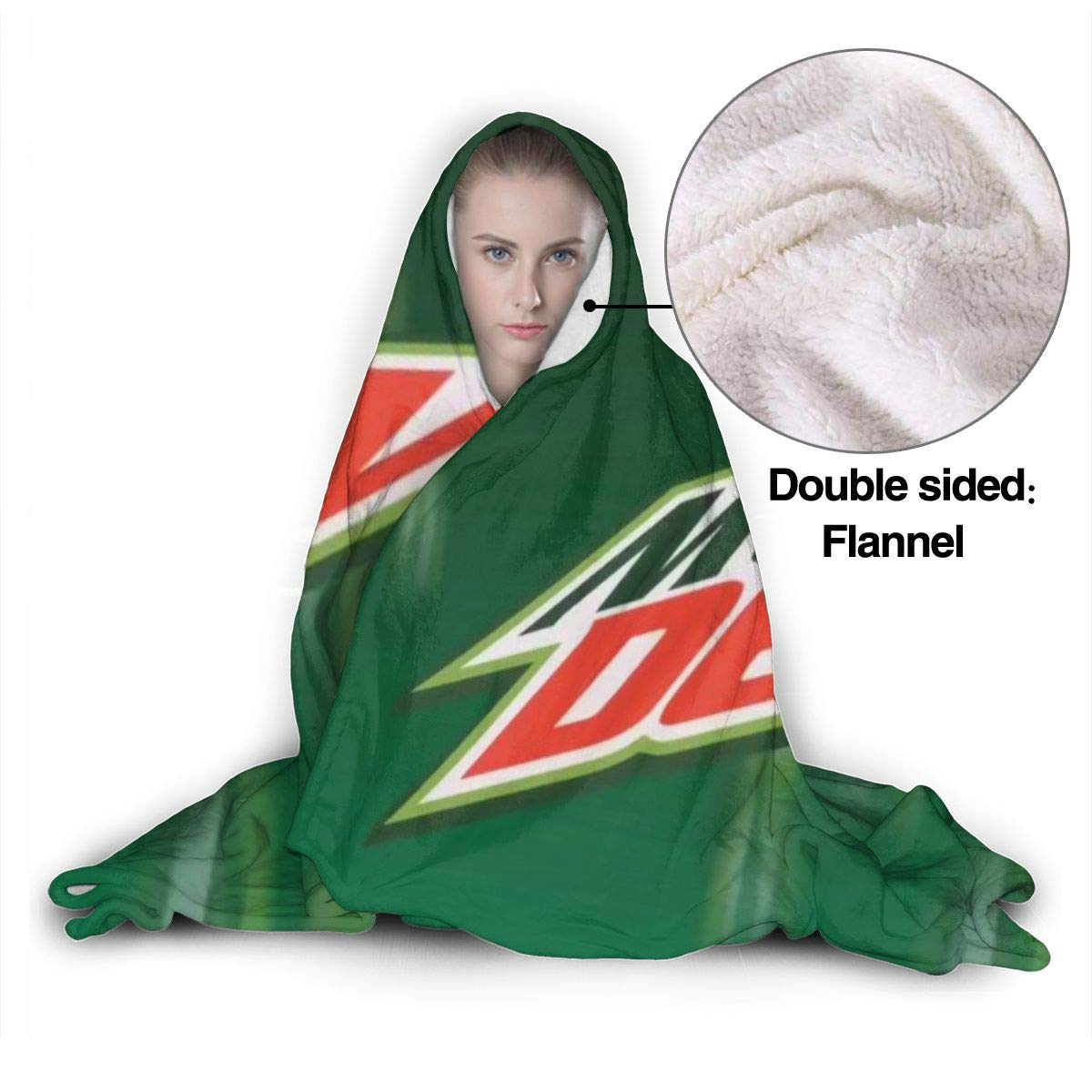Soft Throw Wrap Wearable Blankets Novelty Cape for Kids Adults Teens FransisUU Mountain Dew Logo Hooded Blanket