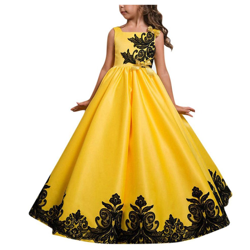 Inkach Toddler Girls Princess Dress Formal Pageant Gown Wedding Party Ruffles Dresses (Yellow, 5T)