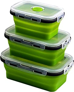 AOSMAN Collapsible Silicone Food Storage Container for Outdoor Camping, Travel,Hiking and Indoor Home Kitchen,Office,School Student,Kitchen Microwave Freezer and Dishwasher Safe