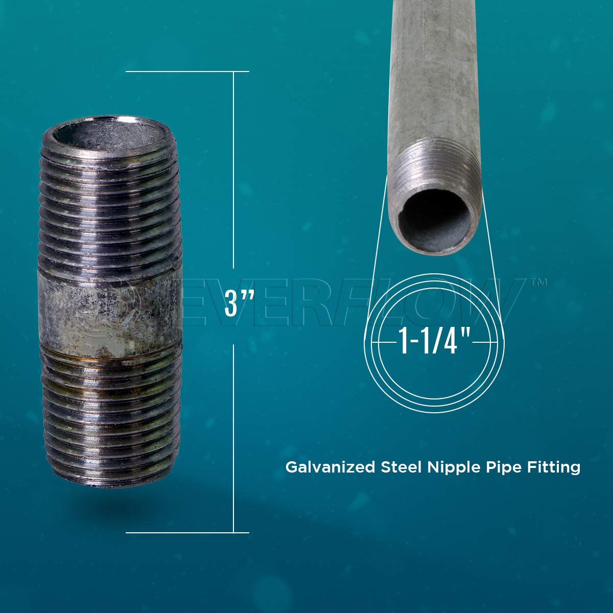 Pack of 10 Pre Cut Industrial Steel Nipple Pipe Everflow NPGL1135-10 Used To Build DIY Furniture Galvanized Connectors Threaded Pipes and Fittings 1-1//4 x 3-1//2
