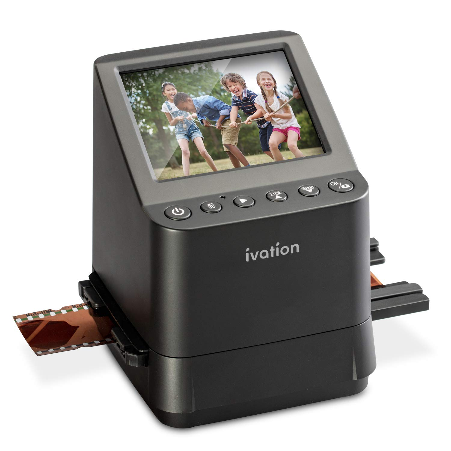 Ivation High Resolution 23MP Film Scanner Converts 135, 110, 126, Black and White, Films Slides and Negatives into Digital Photos, Vibrant 3.5'' 3.5'' Color LCD Display, Easy Quick Load Film Inserts