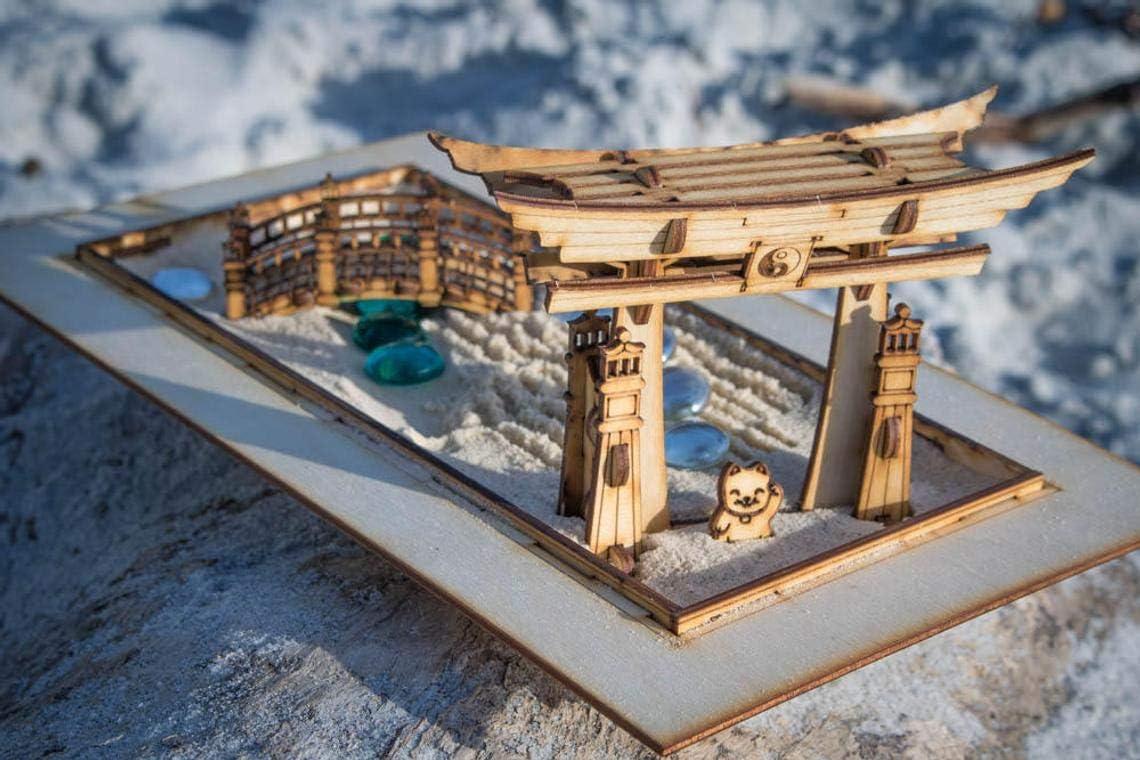 Novelstuffs Zen Garden - Japanese Meditation Sandbox Kit Playset of 6 Pieces, Shinto Gate, Rake, Bridge, Lantern, and Lucky Kitty