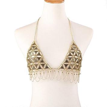 Jiuyizhe Aleación de Borla geométrica para Mujeres y niñasSexy Body Cadena de Bikini Sujetador de Cadena Accessaries para Fiesta Discoteca (Color : Gold): ...