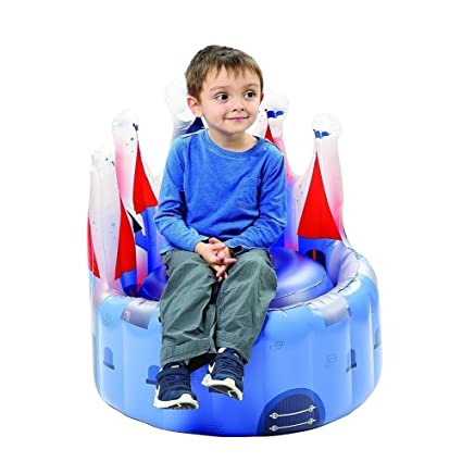 BESTChoiceForYou Knights Castle Blue Boys   Kids Inflatable Chair Single  Person Sofa Indoor/Outdoor Lounge