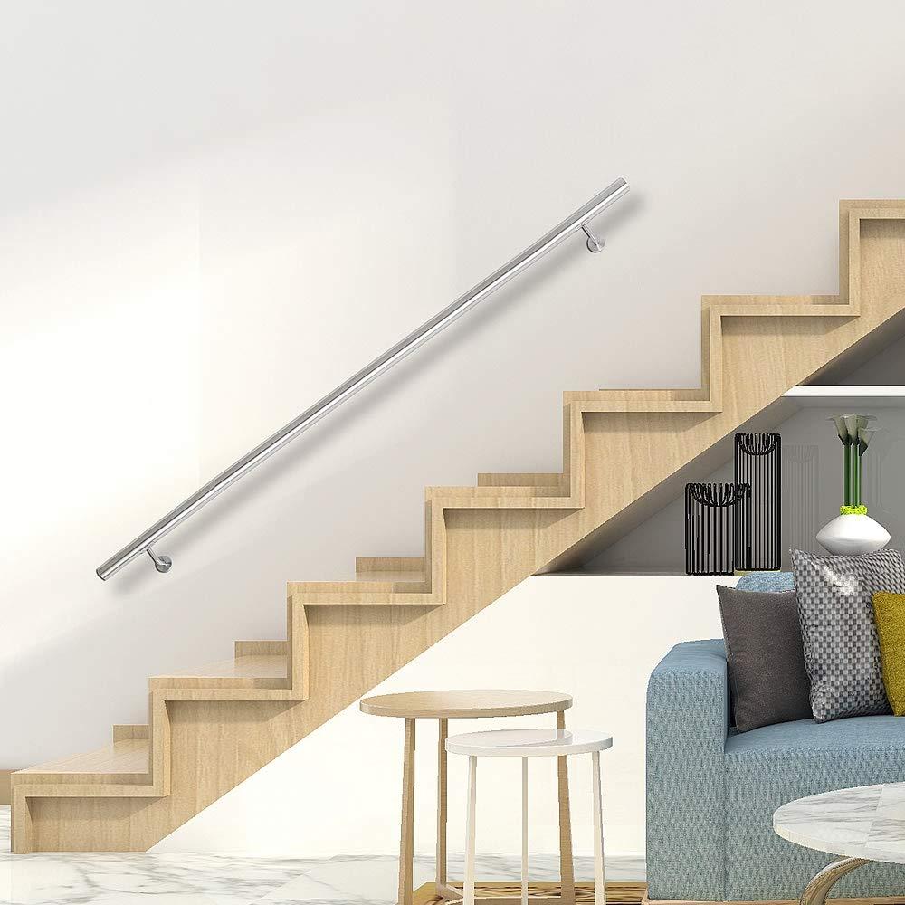 aus V2A Edelstahl zur einfachen Befestigung an der Wand Melko gerader Handlauf Treppengel/änder f/ür Innen und Au/ßen /Ø 4,2 x 130 cm lang