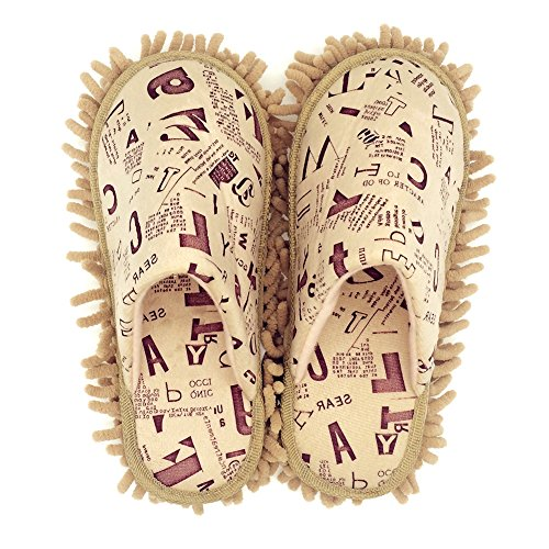 Selric Alphabet Letters Microfiber Chenille Washable Mop Slippers Camel, Detachable Mopping Shoes,Closed Toe Cleaning Shoes Dusting Cleaning Tool 10 1/4″[Size:9.5-10]