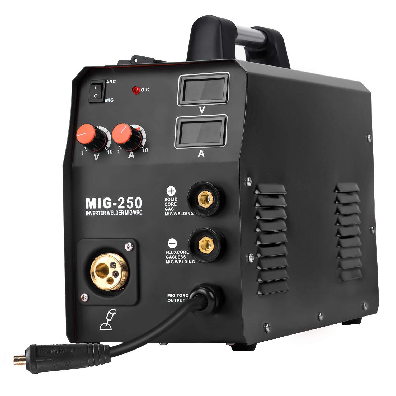 Mig250, Black HZXVOGEN 220V Mig Welder IGBT Lift Tig Gas Gasless Stick Arc MMA Welding Machine No Gas Self shielded Home Use Factory Machine