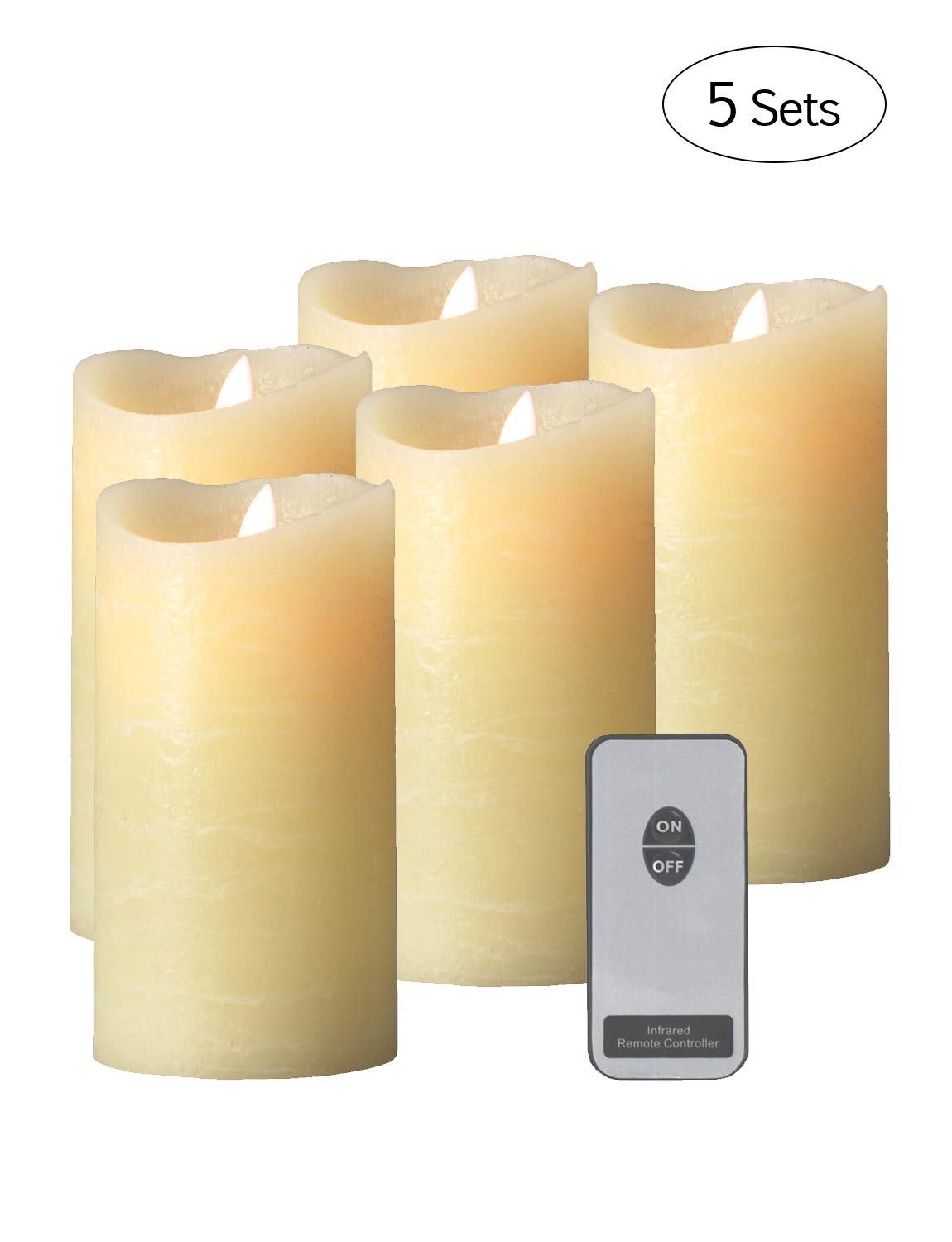 MATTI Flameless Candle Real Wax LED Candles Moving Wick with Remote Flickering Light Pillar (Cream-6''x5pcs)