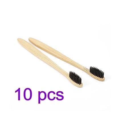 Cepillo de dientes manual de bambú suave y respetuoso con el medio ambiente, color marrón