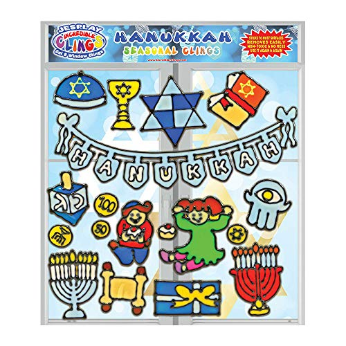 Hanukkah Flexible Gel Clings - CPSC Tested Safe Wall and Window Clings for Kids - Chanukkah Holiday Clings, Menorah, Dreidel, Geld, Torah and More Gel Decals - Great Gift and Activity Home or Travel